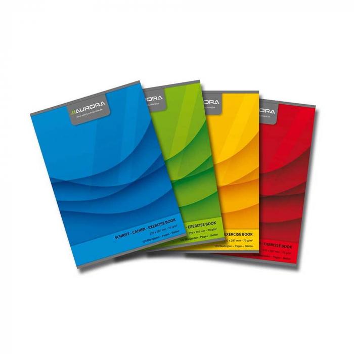 Caiet A4, 60 file - 70g/mp, liniat stanga, coperta carton color, AURORA Office - matematica 0