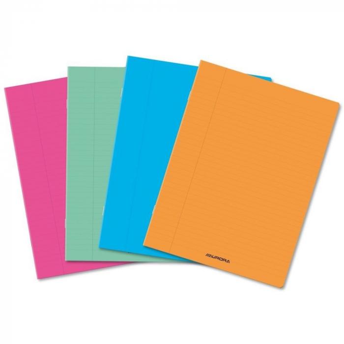 Caiet A4, 60 file - 80g/mp, liniat stanga, coperta PP transparent color, AURORA - velin 0