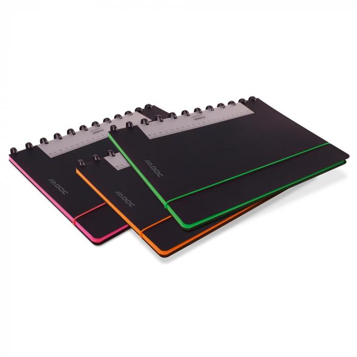 Caiet A4, 72 file - 90g/mp, coperta PP neagra, cu elastic, margine color, AURORA Adoc Edge-dictando 0