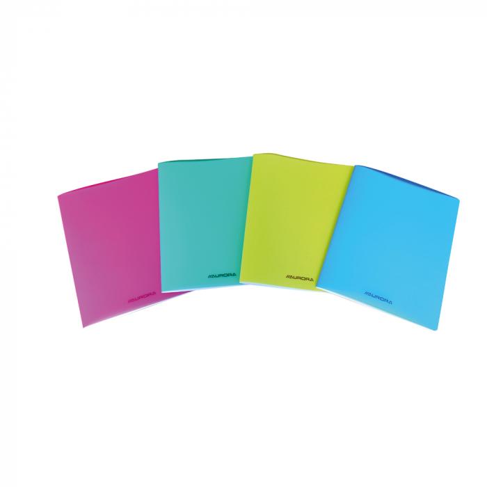 Caiet A5, 36 file - 80g/mp, liniat stanga, coperta PP transparent color, AURORA - velin 0