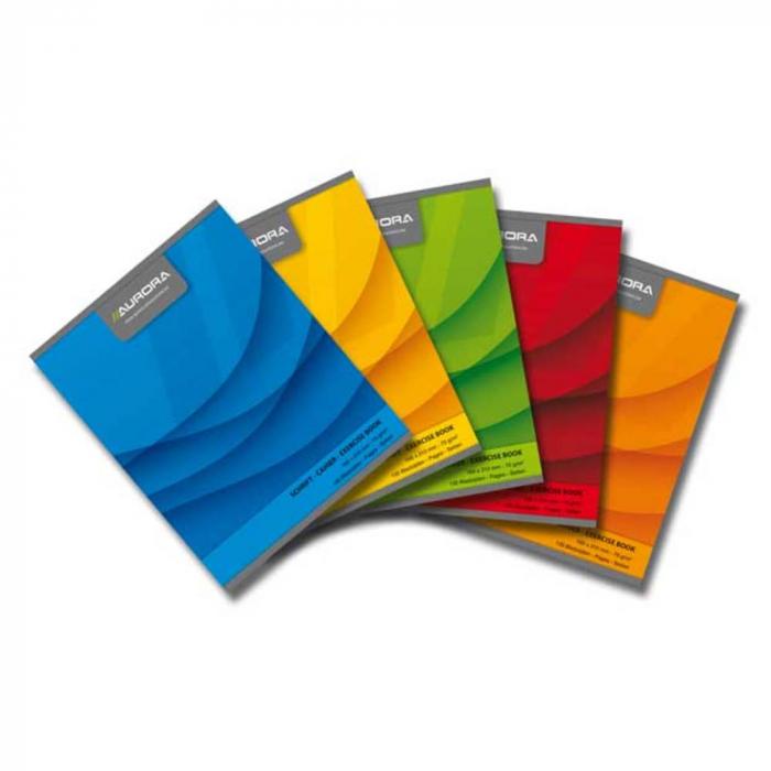 Caiet A5, 60 file - 70g/mp, liniat stanga, coperta carton color, AURORA Office - matematica 0