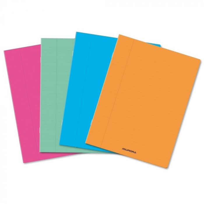 Caiet A5, 60 file - 80g/mp, liniat stanga, coperta PP transparent color, AURORA - velin [0]