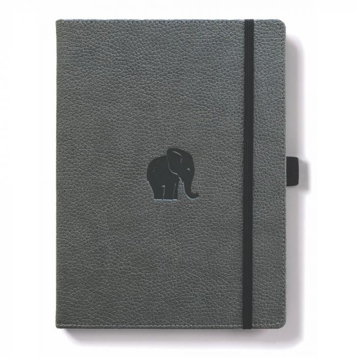 Caiet cu elastic, A5+, 96 file-100g/mp-cream, coperti rigide gri, Dingbats Elephant - velin 0