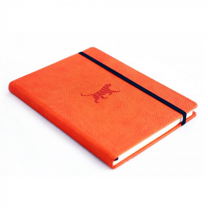 Caiet cu elastic, A5+, 96 file-100g/mp-cream, coperti rigide orange, Dingbats Tiger - velin [0]