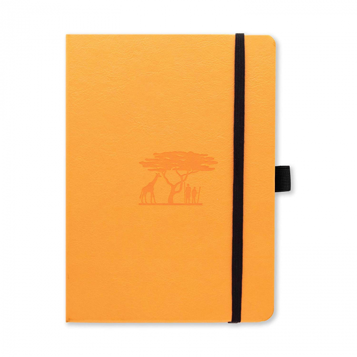 Caiet cu elastic, A5+, 96 file-100g/mp-cream, coperti rigide tangerine, Dingbats Serengeti - punctat [0]