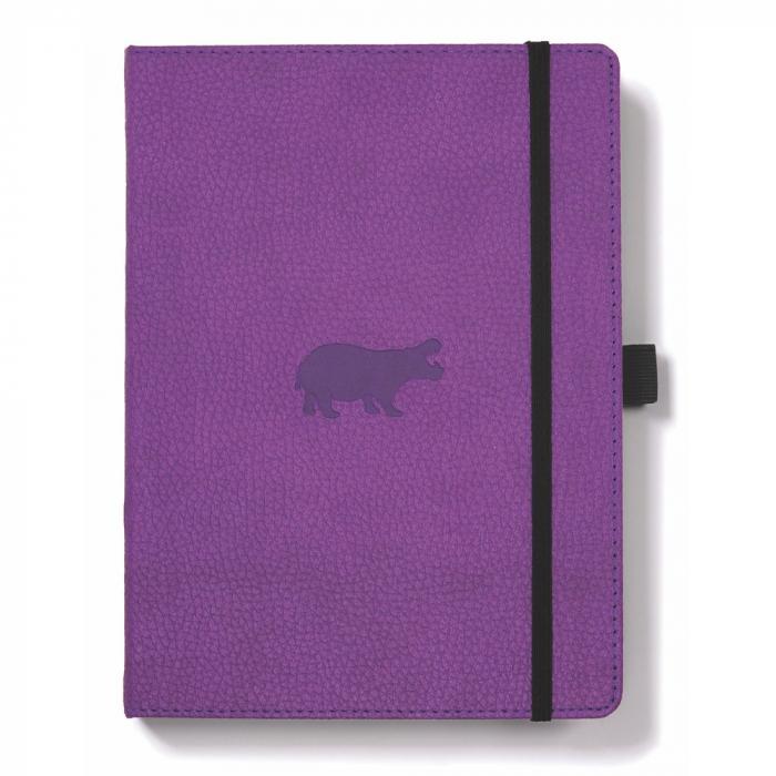 Caiet cu elastic, A5+, 96 file-100g/mp-cream, coperti rigide violet, Dingbats Hippo - velin 0