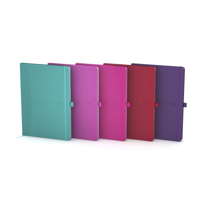 Caiet cu elastic, A5, OXFORD Signature, 80 file - 90g/mp, Scribzee, mate - culori intense 0