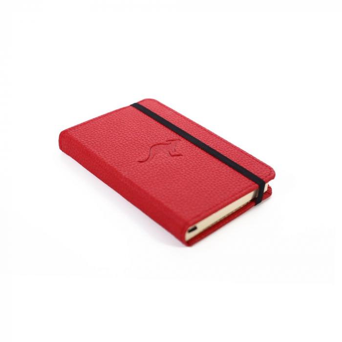 Caiet cu elastic, A6, 96 file-100g/mp-cream, coperti rigide rosii, Dingbats Kangaroo - punctat 1