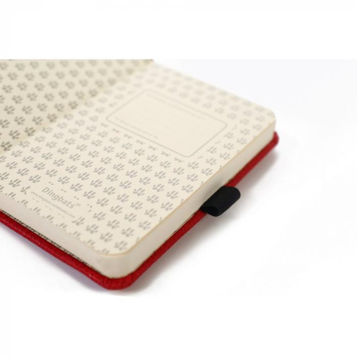 Caiet cu elastic, A6, 96 file-100g/mp-cream, coperti rigide rosii, Dingbats Kangaroo - punctat 2