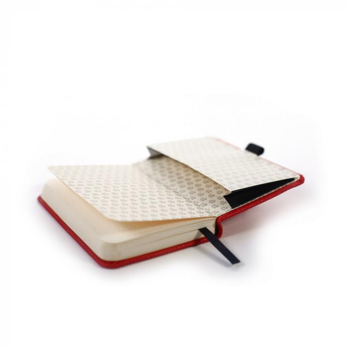 Caiet cu elastic, A6, 96 file-100g/mp-cream, coperti rigide rosii, Dingbats Kangaroo - punctat 3