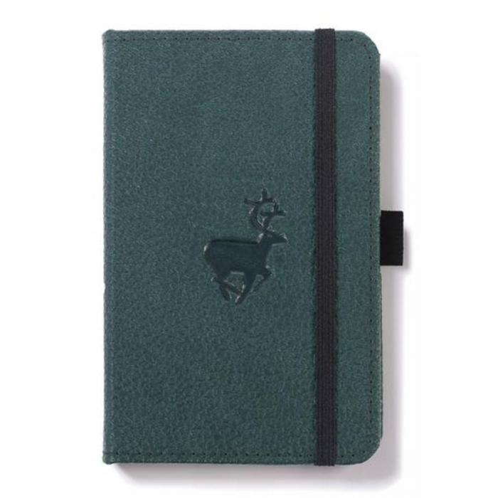 Caiet cu elastic, A6, 96 file-100g/mp-cream, coperti rigide verzi, Dingbats Deer - cu puncte 0