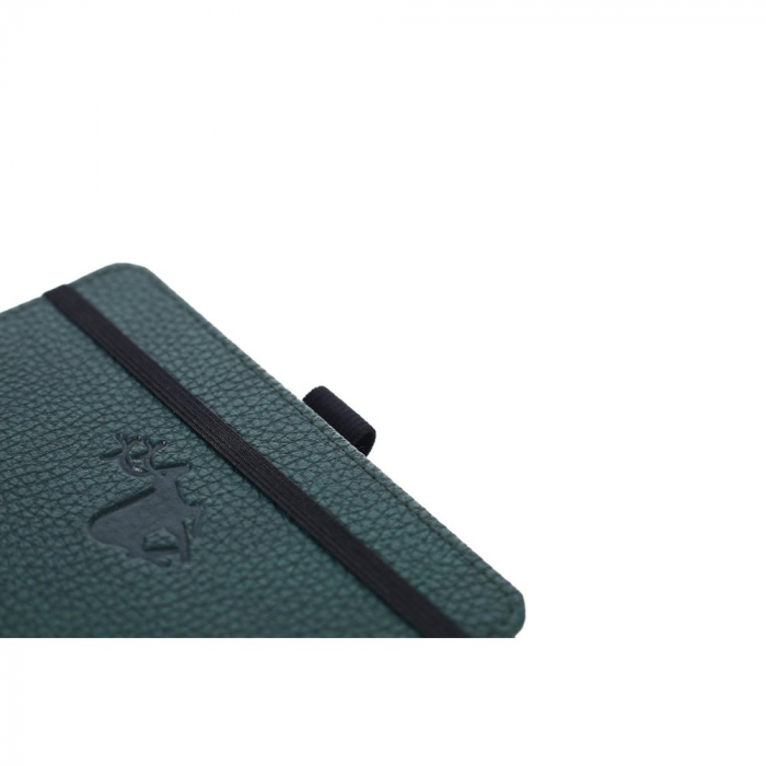 Caiet cu elastic, A6, 96 file-100g/mp-cream, coperti rigide verzi, Dingbats Deer - cu puncte 1