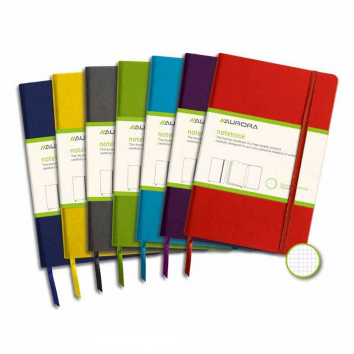 Caiet cu elastic, coperti rigide, 140 x 215mm, 96 file-80g/mp, hartie cream, AURORA - matematica [0]