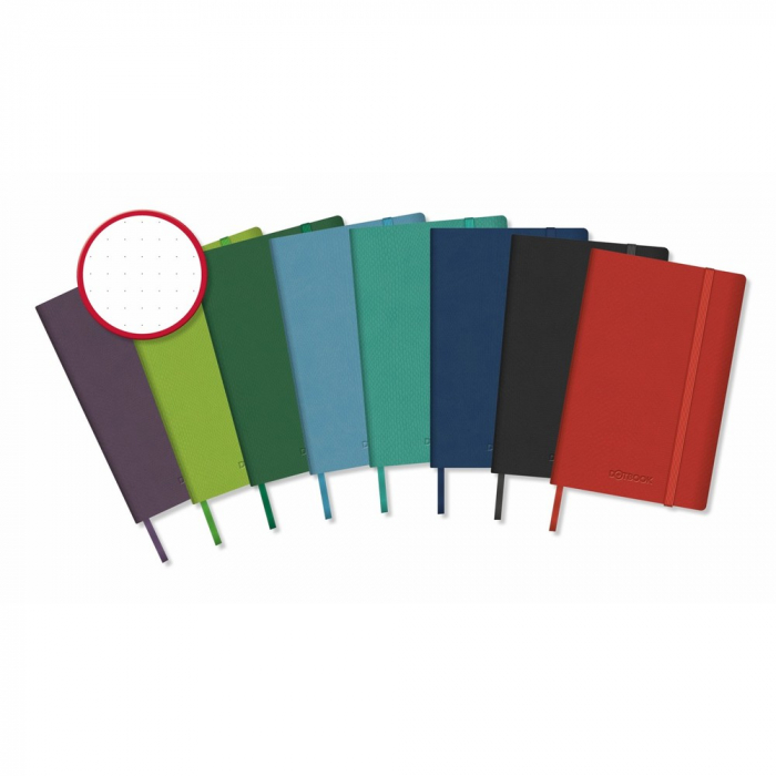 Caiet cu elastic, coperti rigide, 140 x 215mm, 96 file-80g/mp, hartie cream, AURORA -velin cu puncte [0]