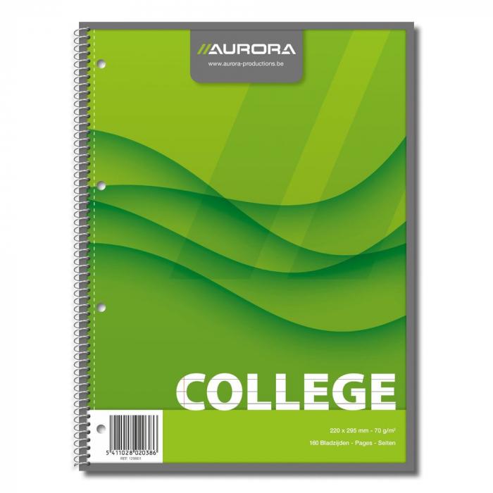 Caiet cu spirala, A4, 80 file - 70g/mp, 4 perforatii, coperti carton, AURORA College - dictando 0