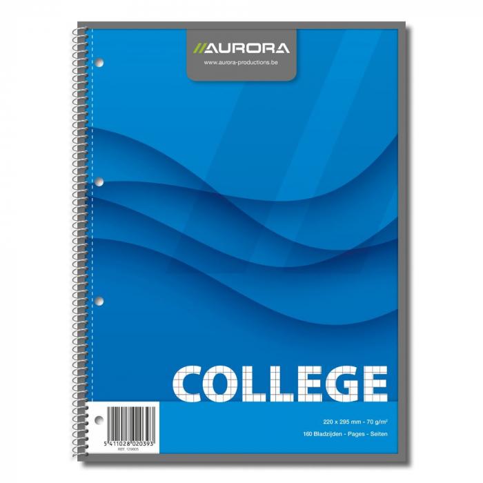 Caiet cu spirala, A4, 80 file - 70g/mp, 4 perforatii, coperti carton, AURORA College - matematica [0]