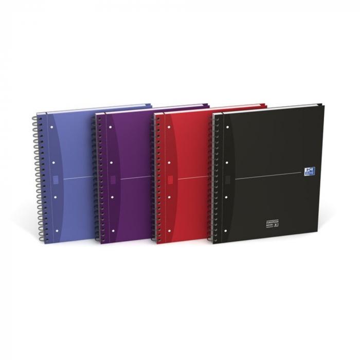 Caiet cu spirala A4+, OXFORD Essentials Europeanbook, 4 culori x 30 file - 90g/mp, Scribzee-mate [0]