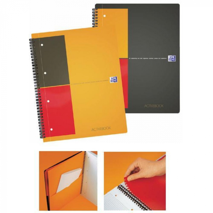 Caiet cu spirala A4+, OXFORD Int. Activebook, 80 file - 80g/mp, Scribzee, coperta PP - mate 0