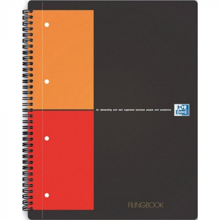 Caiet cu spirala A4+, OXFORD Int. Filingbook, 100 file-80g/mp, Scribzee, coperta carton rigid - mate 0