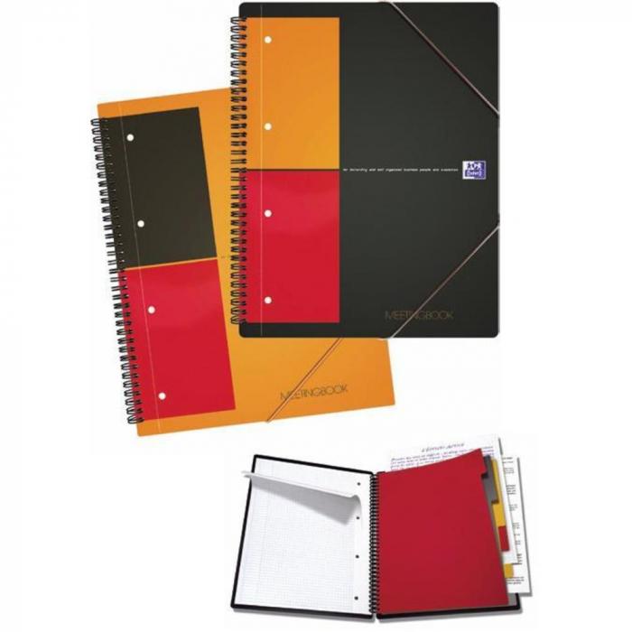 Caiet cu spirala A5+, OXFORD Int. Meetingbook, 80 file-80g/mp, Scribzee, 10 perf, coperta PP-mate 0