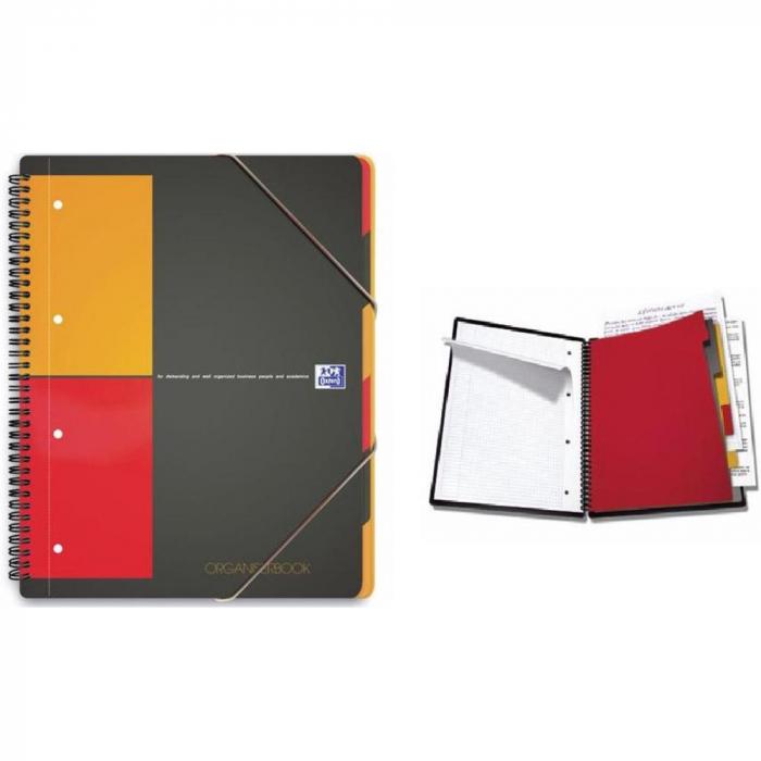 Caiet cu spirala A4+, OXFORD Int. Organiserbook, 80 file-80g/mp, Scribzee, 4 perf, coperta PP-dictan 0