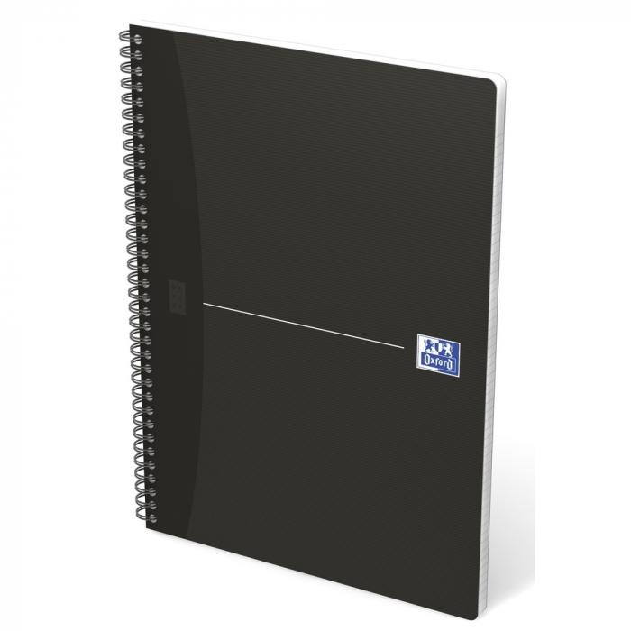Caiet cu spirala A4, OXFORD Office Essentials, 90 file-90g/mp, Scribzee, 4 perforatii, dictando - negru 0