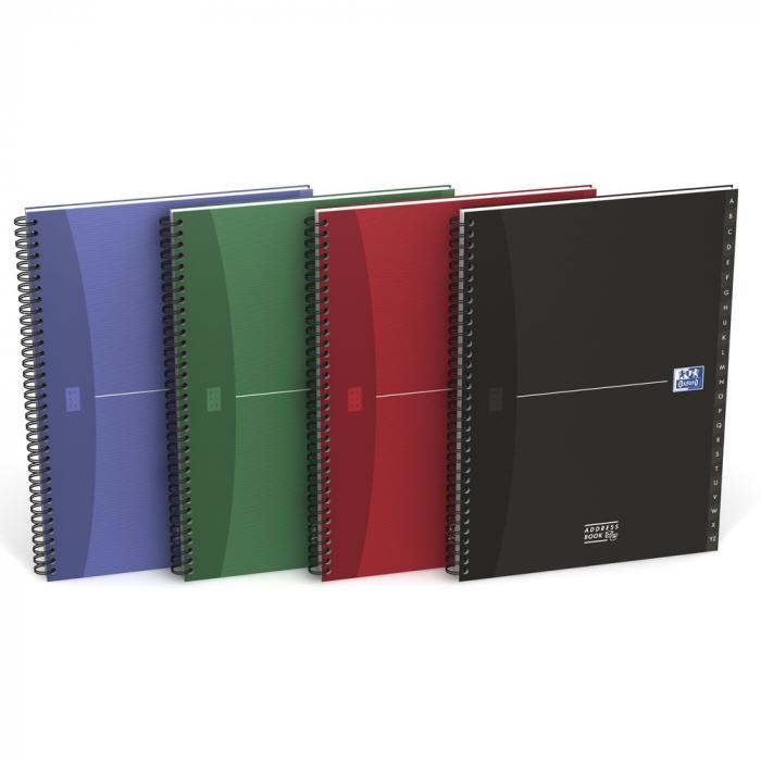 Caiet cu spirala A4, OXFORD Office Essentials Addressbook , 72 file-90g/mp, coperta carton -dictando 0