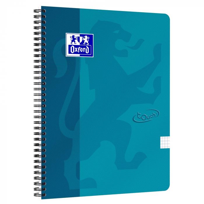 Caiet cu spirala A4, OXFORD School Touch , 70 file-90g/mp, 4 perf, coperta carton turcoaz - mate 0