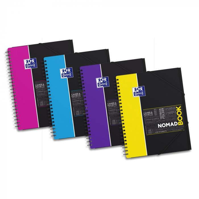Caiet cu spirala A4+, OXFORD Student Nomadbook, 80 file - 90g/mp, 4 perforatii, coperta PP - mate 0