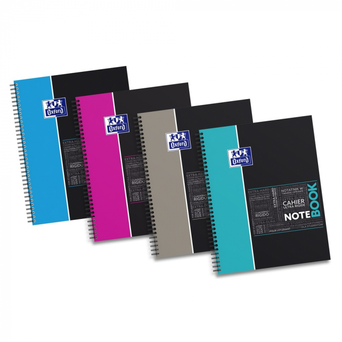Caiet cu spirala A4+, OXFORD Student Notebook, 80 file-90g/mp, 4 perf, coperta carton rigid-dictando 0