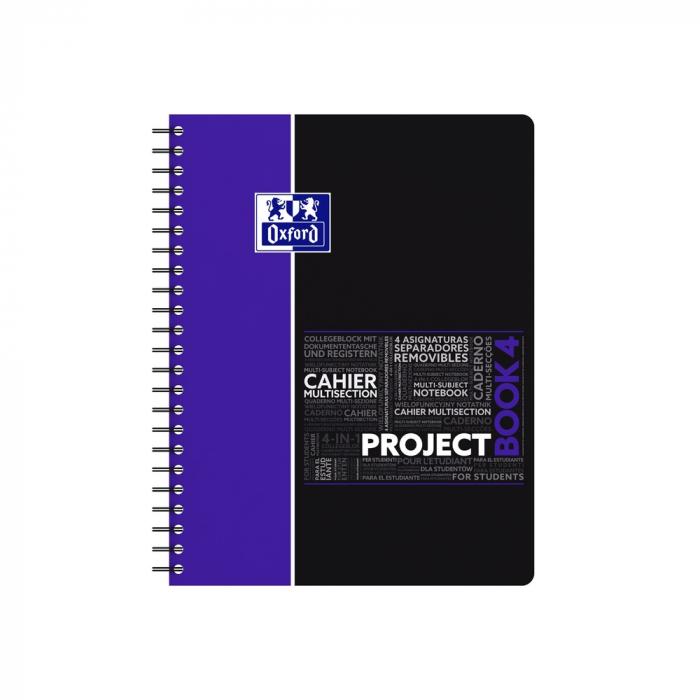 Caiet cu spirala A4+, OXFORD Student Projectbook, 100 file - 90g/mp, 4 perforatii, coperta PP - dictando 0