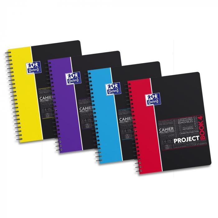 Caiet cu spirala A4+, OXFORD Student Projectbook, 100 file - 90g/mp, 4 perforatii, coperta PP - mate [0]