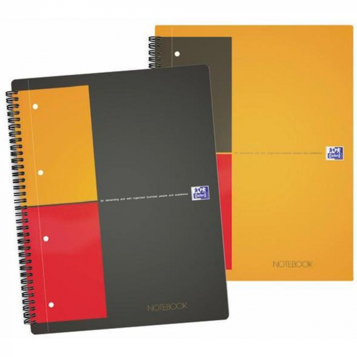 Caiet cu spirala A4+, OXFORD Int. Notebook, 80 file-80g/mp, Scribzee, coperta carton rigid -mate 0