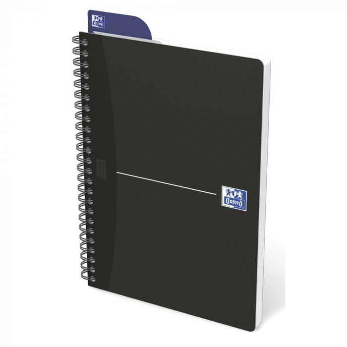 Caiet cu spirala A5, OXFORD Office Essentials, 90 file-90g/mp, Scribzee, 4 perf, coperta carton-dict 0