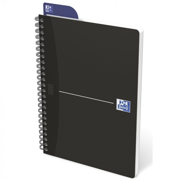 Caiet cu spirala A5, OXFORD Office Essentials, 90 file-90g/mp, Scribzee, 4 perf, coperta carton-mate 0