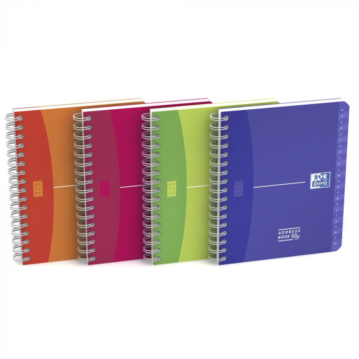 Caiet cu spirala A5, OXFORD Office MyColours Addressbook, 80 file - 90g/mp, coperta PP - dictando [0]