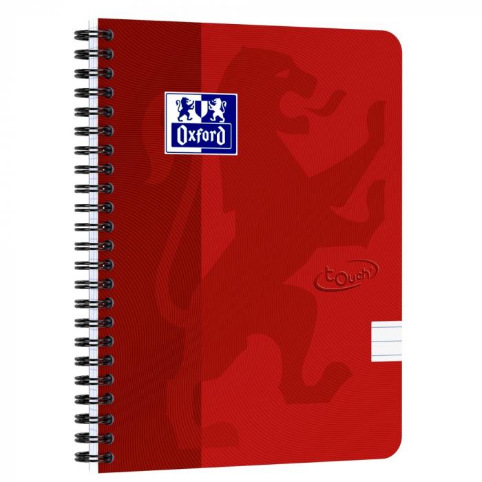 Caiet cu spirala A5, OXFORD School Touch , 70 file-90g/mp, 4 perf, coperta carton rosie - dictando 0