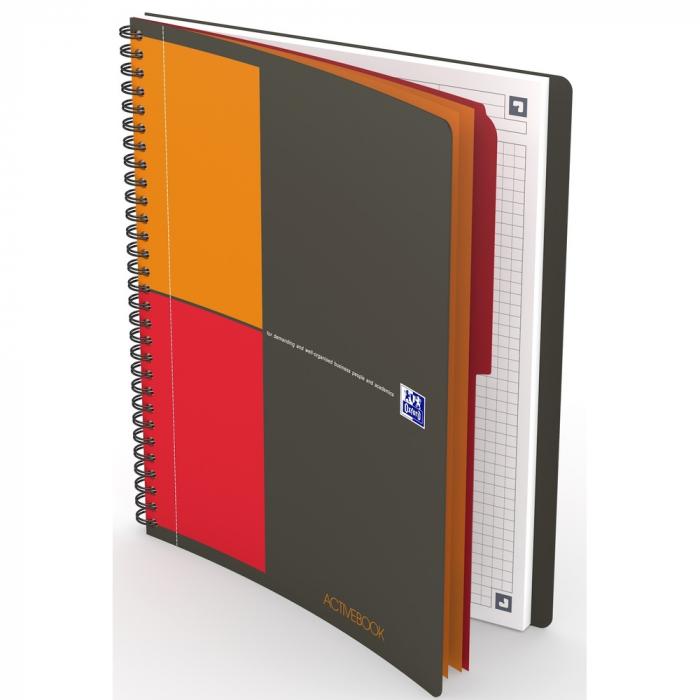Caiet cu spirala B5, OXFORD Int. Activebook, 80 file - 80g/mp, Scribzee, coperta PP - mate 0