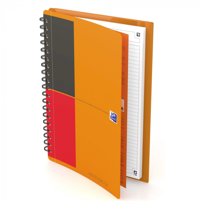 Caiet cu spirala B5, OXFORD Int. Meetingbook, 80 file - 80g/mp, Scribzee, coperta PP - dictando 0