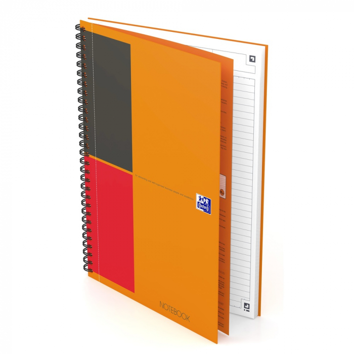 Caiet cu spirala B5, OXFORD Int. Notebook, 80 file-80g/mp, Scribzee, coperta carton rigid - dictando 0