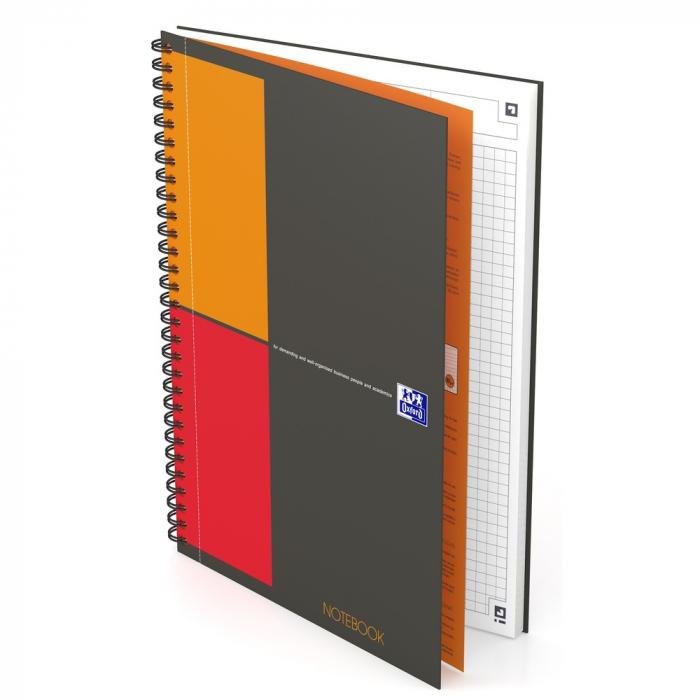 Caiet cu spirala B5, OXFORD Int. Notebook, 80 file-80g/mp, Scribzee, coperta carton rigid - mate [0]