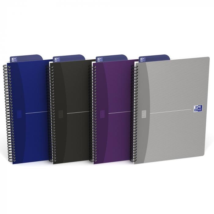 Caiet cu spirala B5, OXFORD Office Essentials, 90 file - 90g/mp, Scribzee, coperta carton - dictando [0]