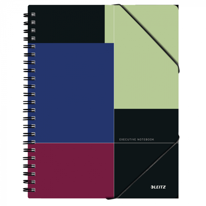 Caiet de birou LEITZ Executive Be Mobile, PP A4, cu spira, matematica - negru/violet 0