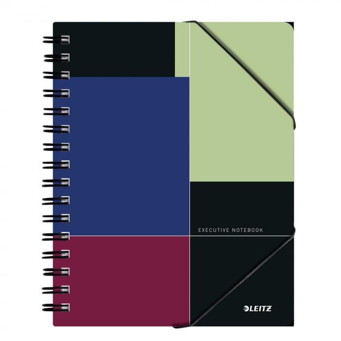 Caiet de birou LEITZ Executive Be Mobile, PP A5, cu spira, matematica - negru/violet 0