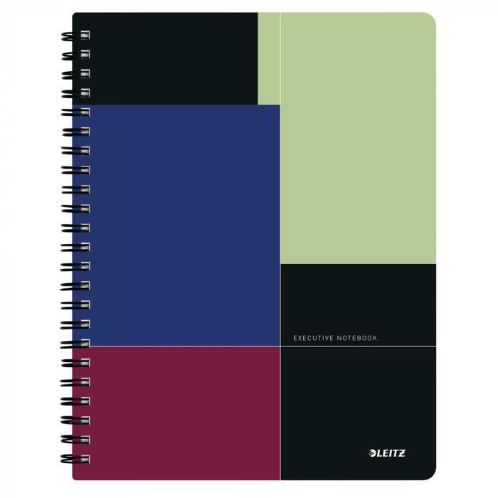 Caiet de birou LEITZ Executive Get Organized, PP, A4, cu spira matematica - negru/violet 0