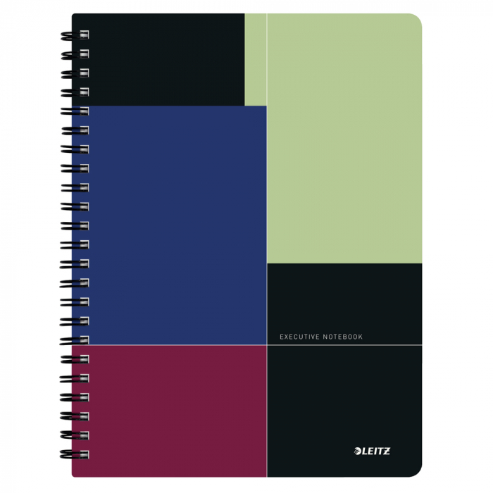 Caiet de birou LEITZ Executive, PP, A4, cu spira, matematica - negru/violet [0]