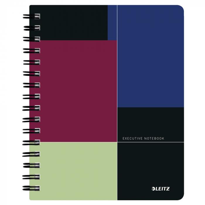 Caiet de birou LEITZ Executive, PP, A5, cu spira, dictando - negru/violet 0