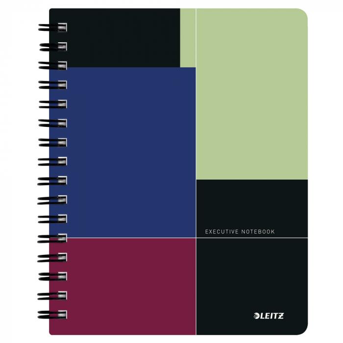 Caiet de birou LEITZ Executive, PP, A5, cu spira, matematica - negru/violet [0]
