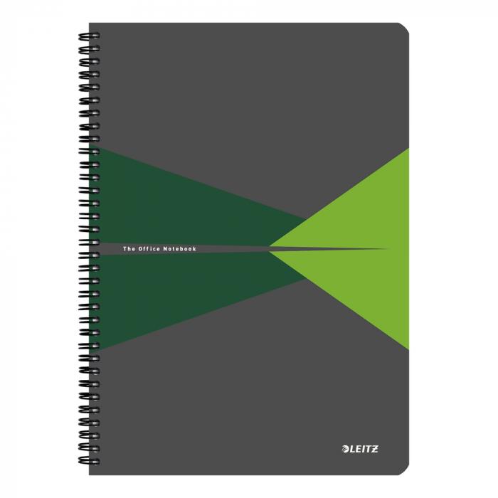 Caiet de birou LEITZ Office, carton, A4, cu spira, dictando - verde 0
