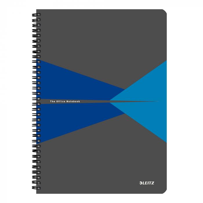 Caiet de birou LEITZ Office, carton, A4, cu spira, matematica - albastru 0
